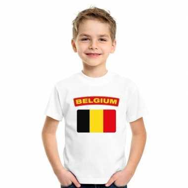 T-shirt belgische vlag wit kinderen