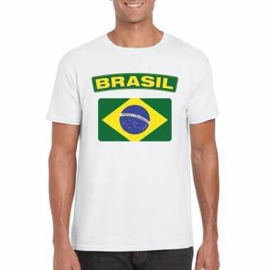 T-shirt braziliaanse vlag wit heren