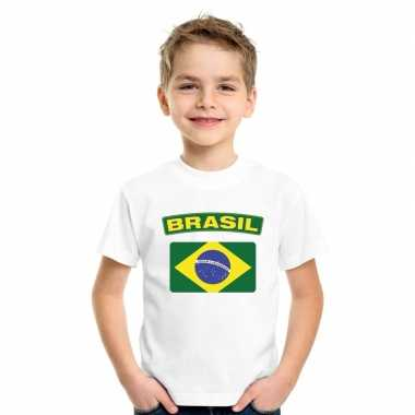 T-shirt braziliaanse vlag wit kinderen