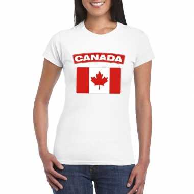 T-shirt canadese vlag wit dames