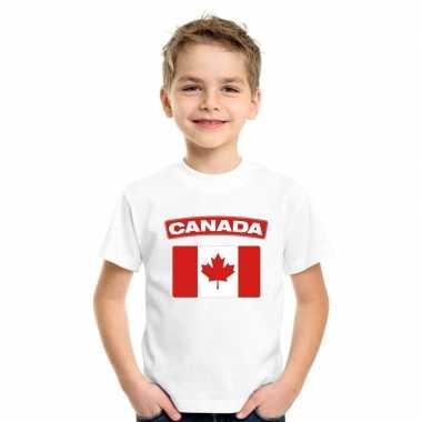 T-shirt canadese vlag wit kinderen