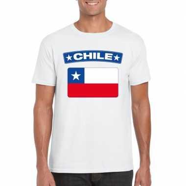 T-shirt chileense vlag wit heren