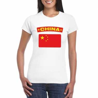 T-shirt chinese vlag wit dames