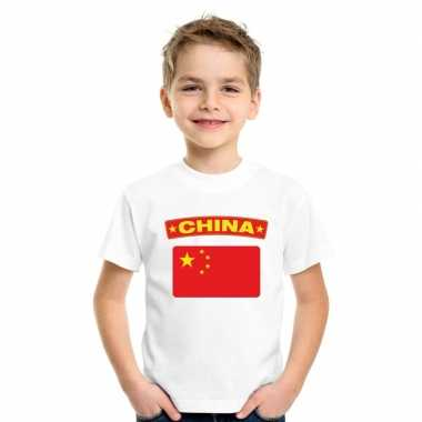 T-shirt chinese vlag wit kinderen