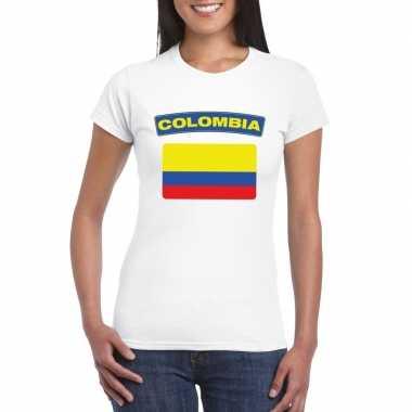 T-shirt colombiaanse vlag wit dames