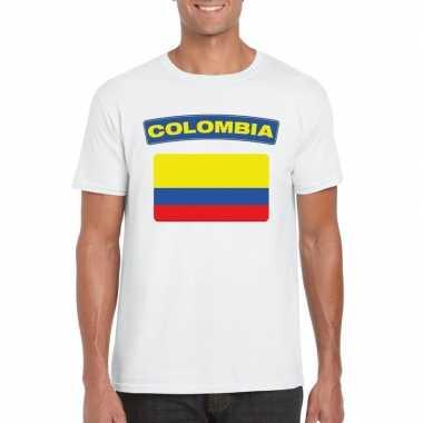T-shirt colombiaanse vlag wit heren
