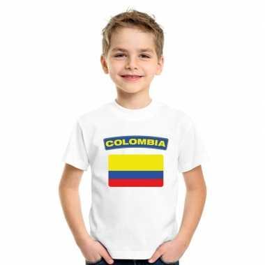 T-shirt colombiaanse vlag wit kinderen