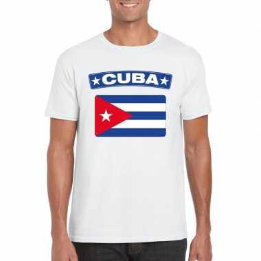 T-shirt cubaanse vlag wit heren