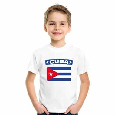 T-shirt cubaanse vlag wit kinderen