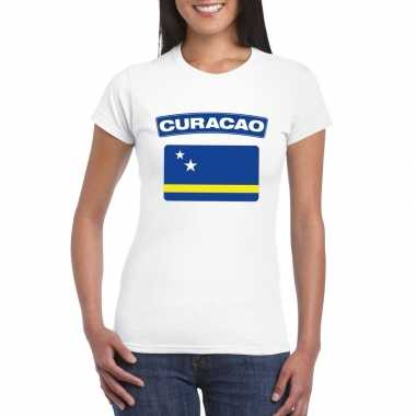 T-shirt curacaose vlag wit dames