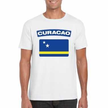 T-shirt curacaose vlag wit heren