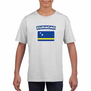 T-shirt curacaose vlag wit kinderen