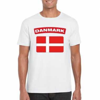 T-shirt deense vlag wit heren