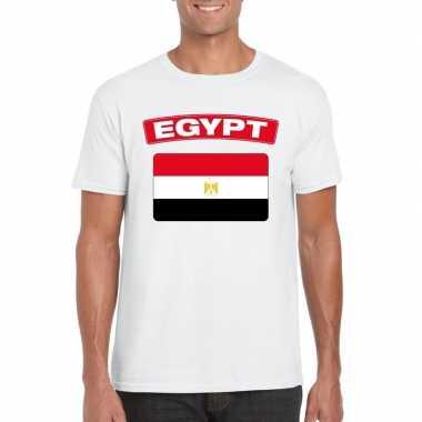 T-shirt egyptische vlag wit heren