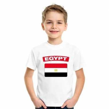 T-shirt egyptische vlag wit kinderen