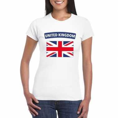 T-shirt engelse vlag wit dames