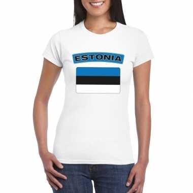 T-shirt estlandse vlag wit dames
