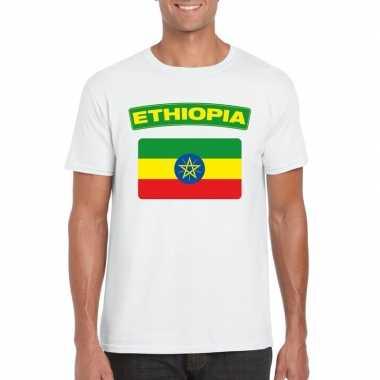 T-shirt ethiopische vlag wit heren