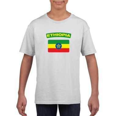 T-shirt ethiopische vlag wit kinderen