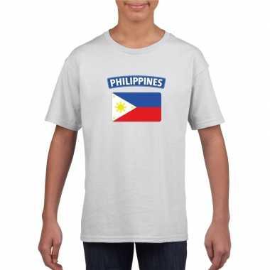 T-shirt filipijnse vlag wit kinderen