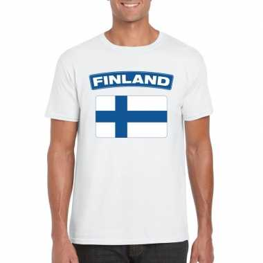 T-shirt finse vlag wit heren