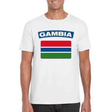 T-shirt gambiaanse vlag wit heren