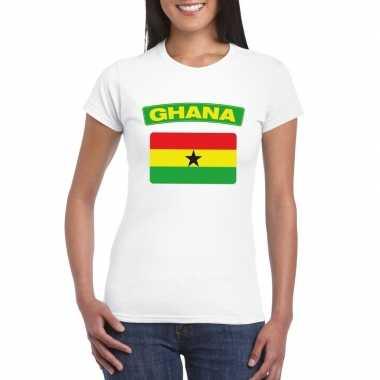 T-shirt ghanese vlag wit dames