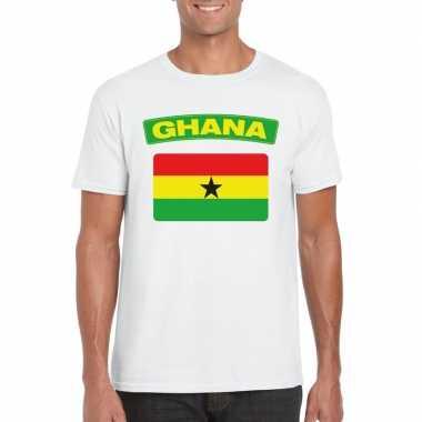 T-shirt ghanese vlag wit heren