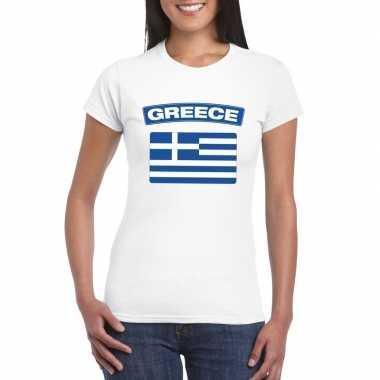 T-shirt griekse vlag wit dames