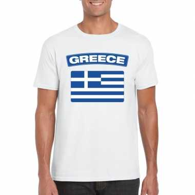 T-shirt griekse vlag wit heren