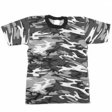 T-shirt grijze urban camouflage print