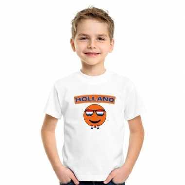T-shirt holland smiley wit kinderen