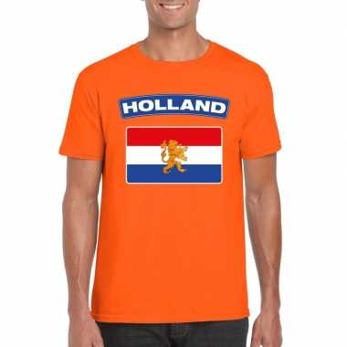T-shirt hollandse vlag oranje heren