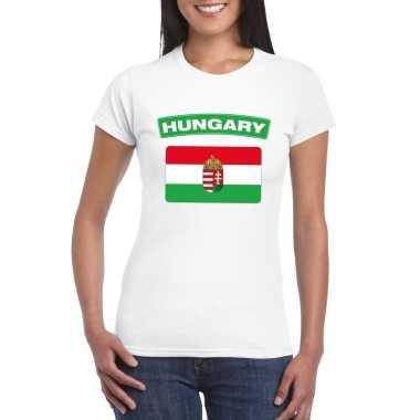 T-shirt hongaarse vlag wit dames