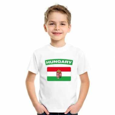 T-shirt hongaarse vlag wit kinderen