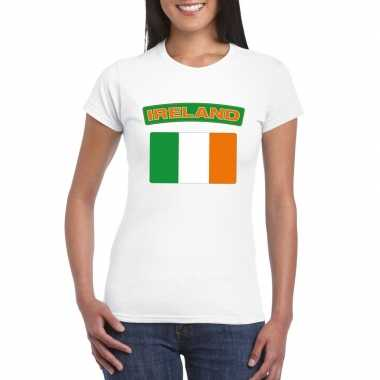 T-shirt ierse vlag wit dames