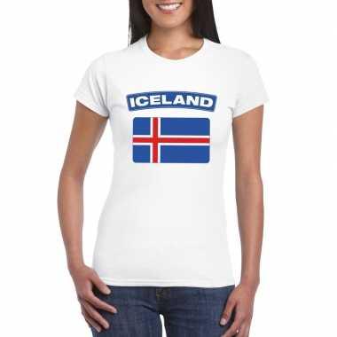 T-shirt ijslandse vlag wit dames