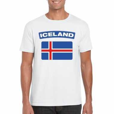 T-shirt ijslandse vlag wit heren