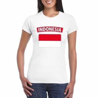 T-shirt indonesische vlag wit dames