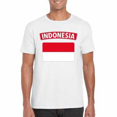 T-shirt indonesische vlag wit heren