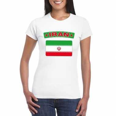 T-shirt iraanse vlag wit dames