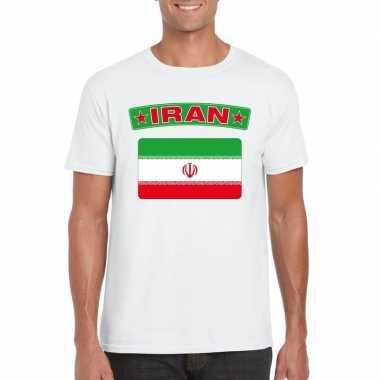 T-shirt iraanse vlag wit heren