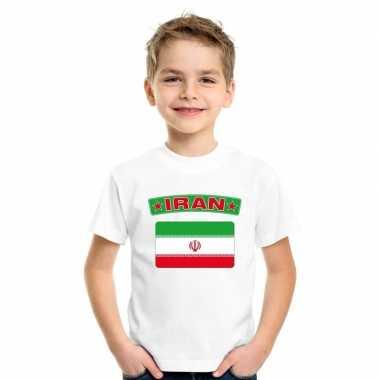 T-shirt iraanse vlag wit kinderen