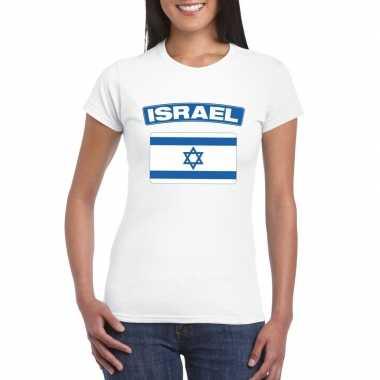 T-shirt israelische vlag wit dames
