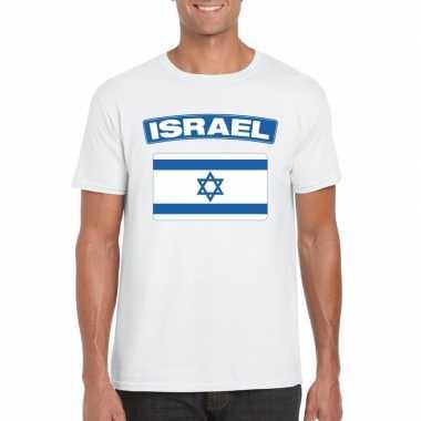 T-shirt israelische vlag wit heren