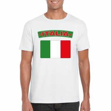 T-shirt italiaanse vlag wit heren