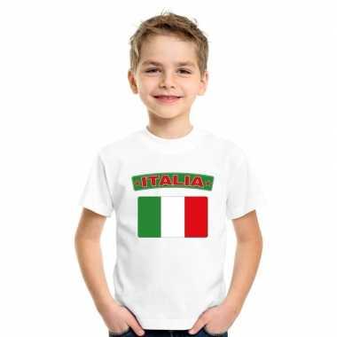 T-shirt italiaanse vlag wit kinderen