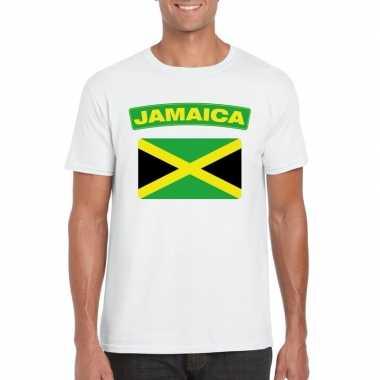 T-shirt jamaicaanse vlag wit heren