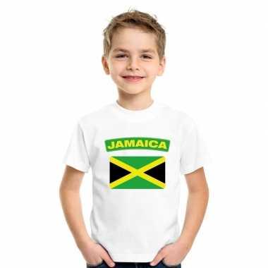 T-shirt jamaicaanse vlag wit kinderen