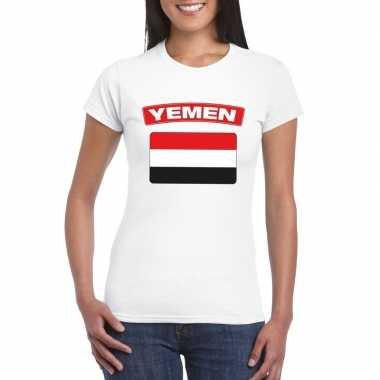 T-shirt jemenitische vlag wit dames